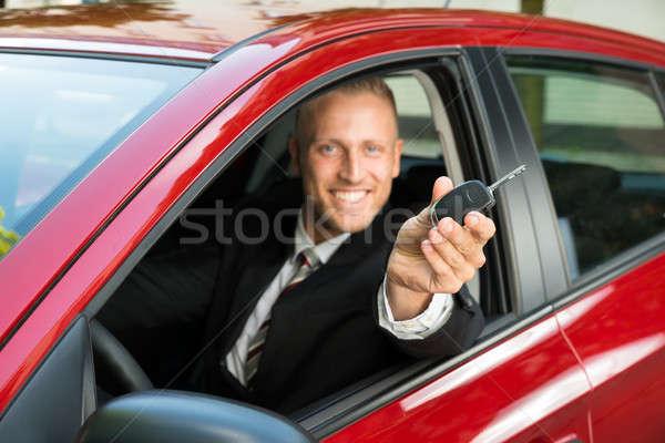 ビジネスマン 新しい車 キー 肖像 笑みを浮かべて ストックフォト © AndreyPopov