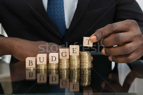 Businessman Putting The Letters Of The Word Budget On Coins Stock photo © AndreyPopov