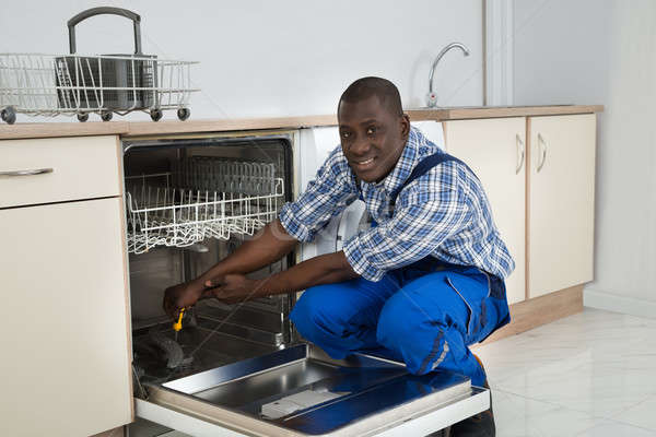 Afrika tamir bulaşık makinesi genç mutlu Stok fotoğraf © AndreyPopov