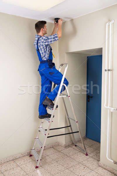 Technician Fitting Cctv Camera Stock photo © AndreyPopov