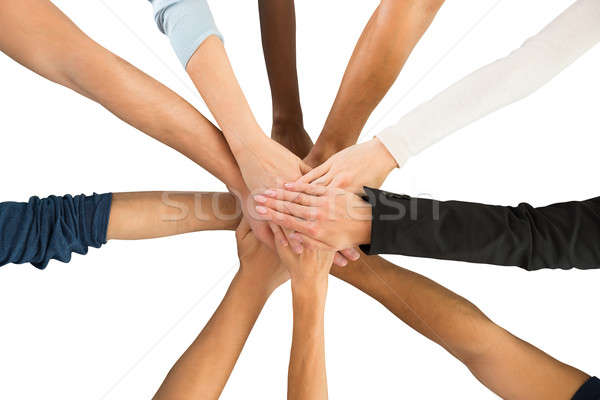 Stock photo: Directly Above Shot Of Creative Business Team Piling Hands