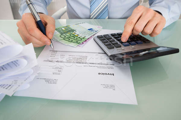 üzletember számla iroda közelkép Euro bankjegyek Stock fotó © AndreyPopov