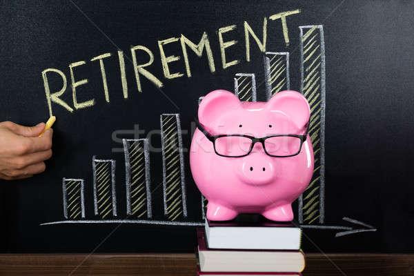 Pensioen plan Blackboard spaarpot groei geld Stockfoto © AndreyPopov