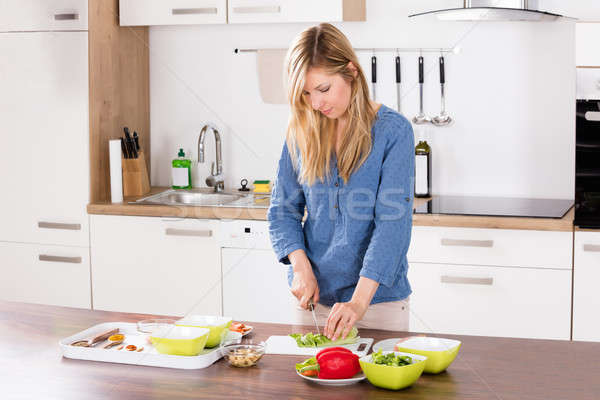 Woman Cutting Vegetable On Chopping Board Stock photo © AndreyPopov