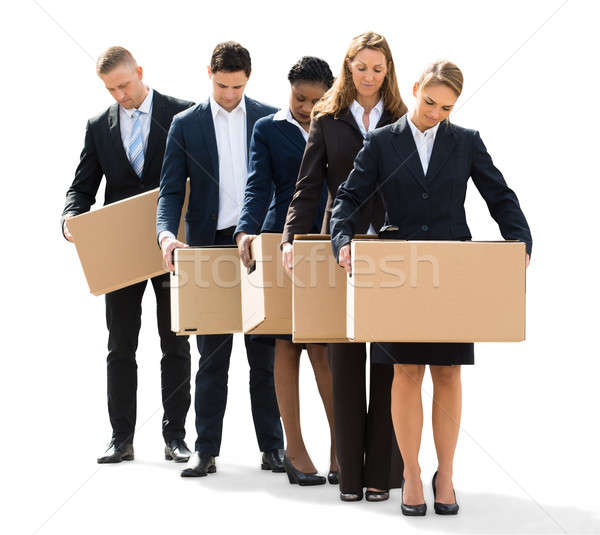 Businesspeople Standing With Cardboard Boxes Stock photo © AndreyPopov