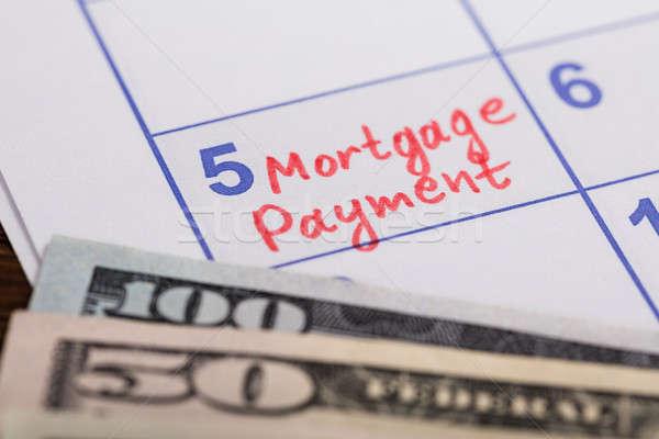 Hypothèque paiement rappel écrit calendrier Photo stock © AndreyPopov