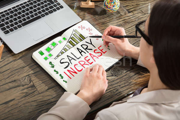 Salary Increase Words In Notepad Stock photo © AndreyPopov