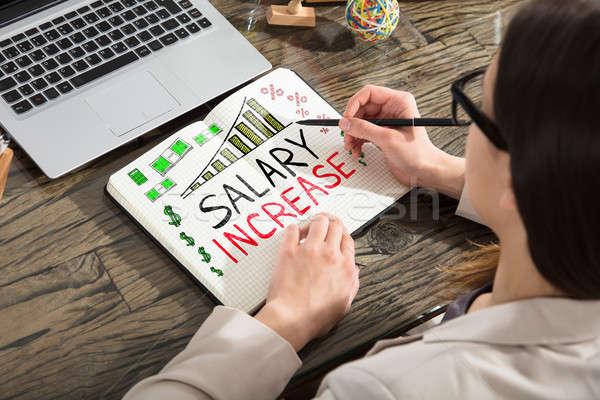 Wynagrodzenie wzrost słowa notatnika kobieta rysunek Zdjęcia stock © AndreyPopov