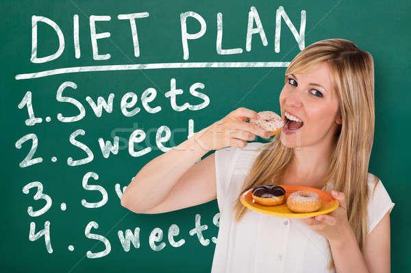 ストックフォト: 若い女性 · 食べ · ドーナツ · 立って · 黒板 · ダイエット