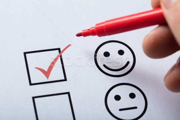 Tick Placed In Customer Service Satisfaction Survey Form Stock photo © AndreyPopov