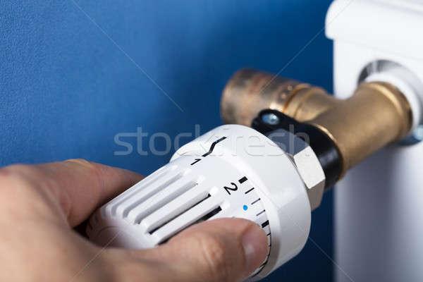 Hand temperatuur thermostaat controle warmte Stockfoto © AndreyPopov