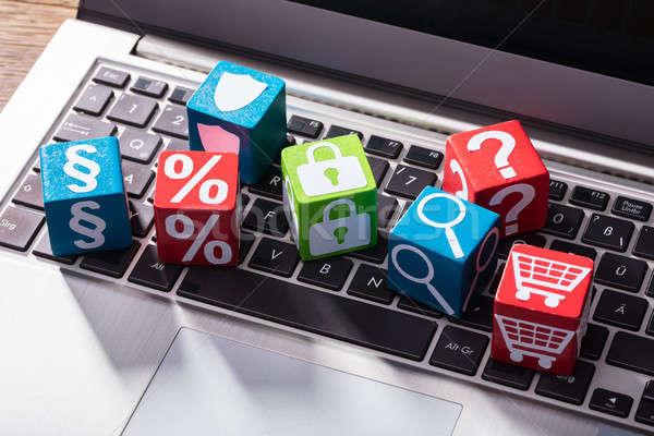 Társasági szimbólumok fából készült laptop numerikus billentyűzet kilátás Stock fotó © AndreyPopov