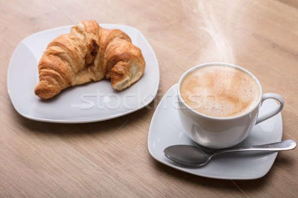 Stockfoto: Croissant · beker · koffie · ontbijt · hot · houten