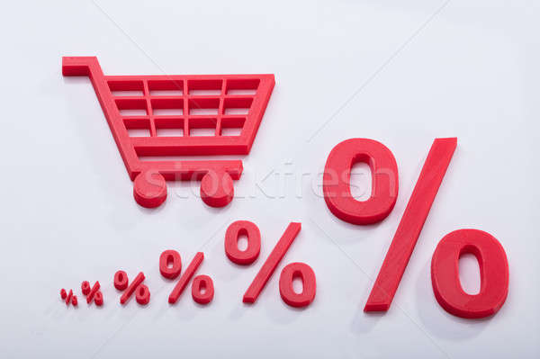 Elevated View Of Shopping Cart Near Increasing Percentage Symbol Stock photo © AndreyPopov