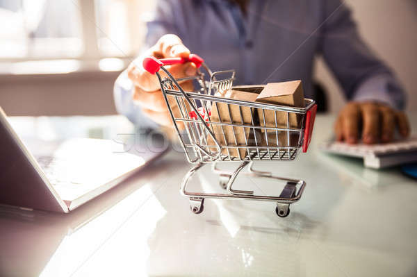 Businessperson's Hand Holding Shopping Cart Stock photo © AndreyPopov