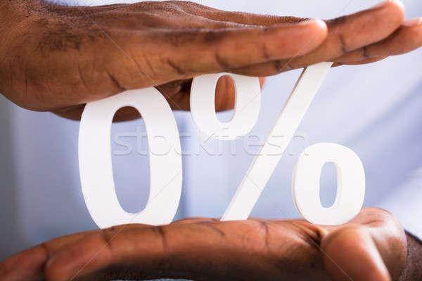 Mãos zero percentagem símbolo dois Foto stock © AndreyPopov