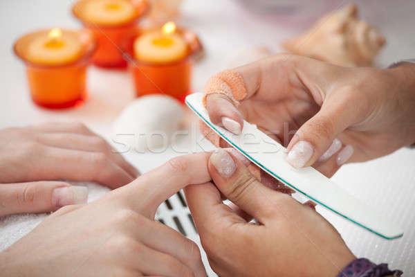 Fingernägel Nagel Datei Medizin arbeiten weiblichen Stock foto © AndreyPopov