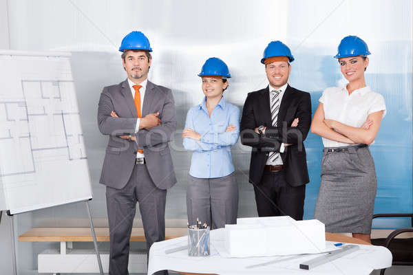 Stock photo: Successful Architects With Arm Crossed Standing Together