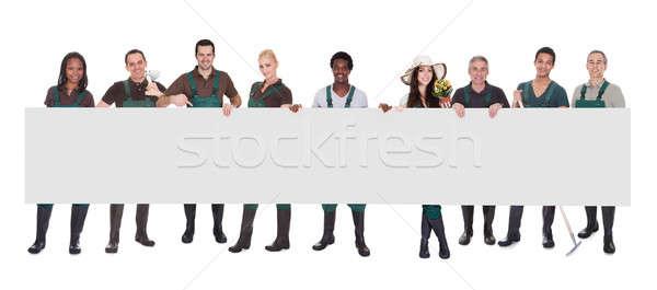 Сток-фото: группа · садовник · работник · плакат · счастливым · белый