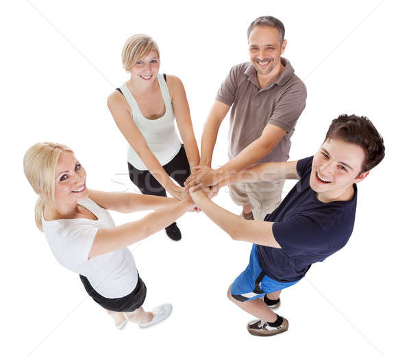 Család elkötelezettség támogatás magasról fotózva kilátás boldog család Stock fotó © AndreyPopov