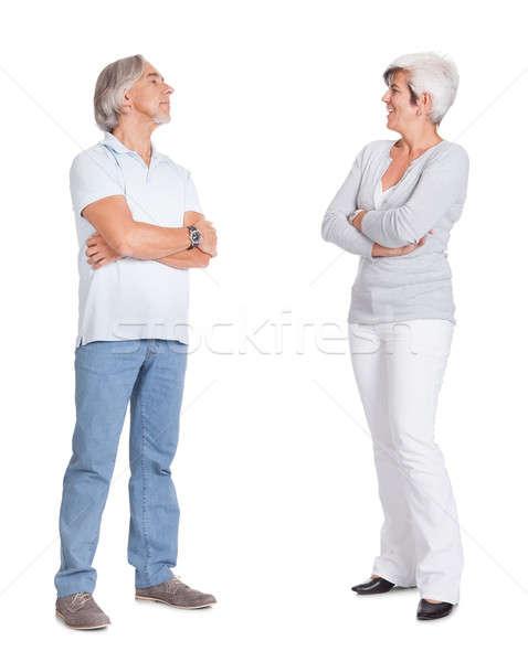 Feliz amoroso casal de idosos em pé íntimo Foto stock © AndreyPopov
