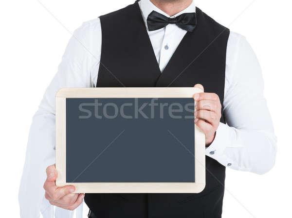 Butler Holding Blank Slate Stock photo © AndreyPopov