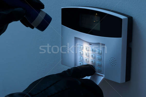 Burglar Trying To Disarm The Security Alarm System Stock photo © AndreyPopov
