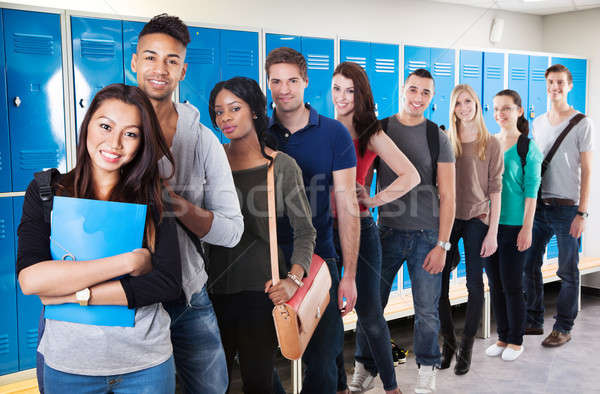 Stock photo: Multiethnic College Students Standing In A Row