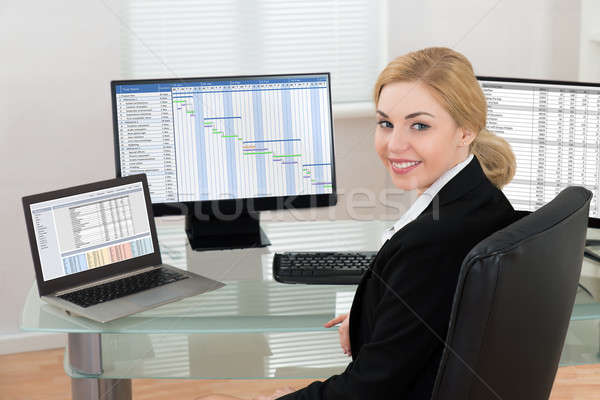 Businesswoman With Computer Displays Showing Current Work Stock photo © AndreyPopov