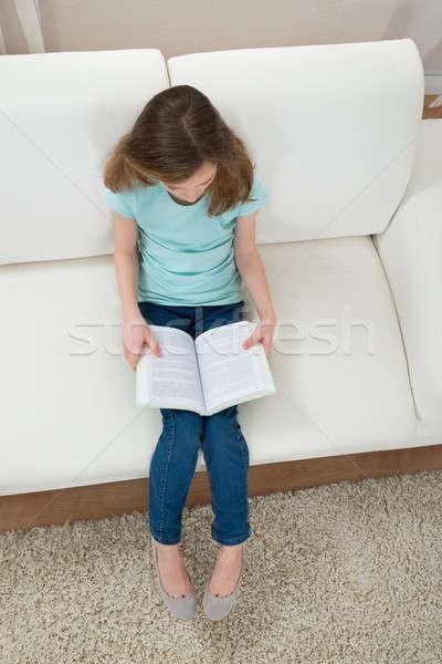 Kız kanepe okuma kitap oturma oturma odası Stok fotoğraf © AndreyPopov