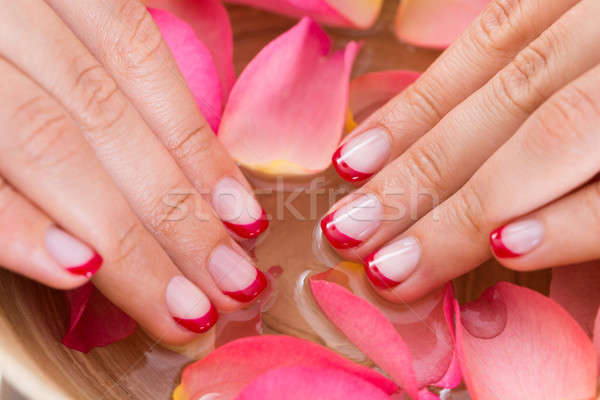 Woman Hands In Bowl Of Water And Petals Stock photo © AndreyPopov