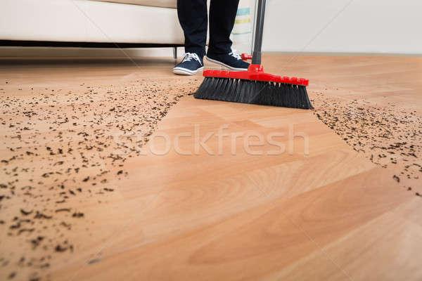 Vassoura limpeza sujeira piso de madeira ver Foto stock © AndreyPopov