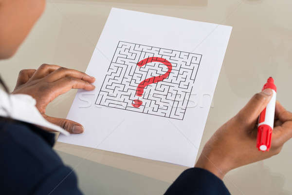 Person's Hand With Question Mark On Maze Stock photo © AndreyPopov