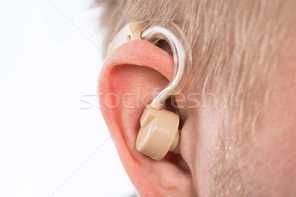 男 補聴器 後ろ 耳 クローズアップ ヘルプ ストックフォト © AndreyPopov