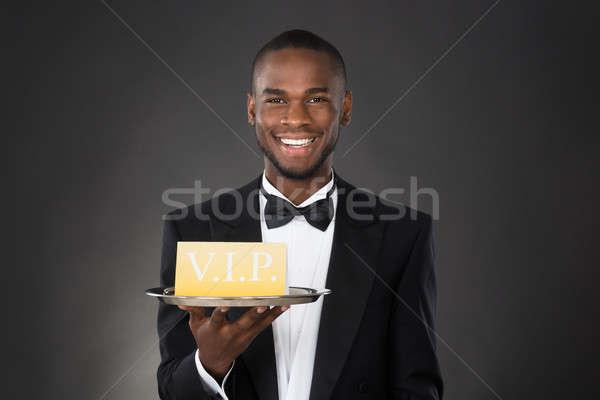 Camarero bandeja vip signo feliz Foto stock © AndreyPopov