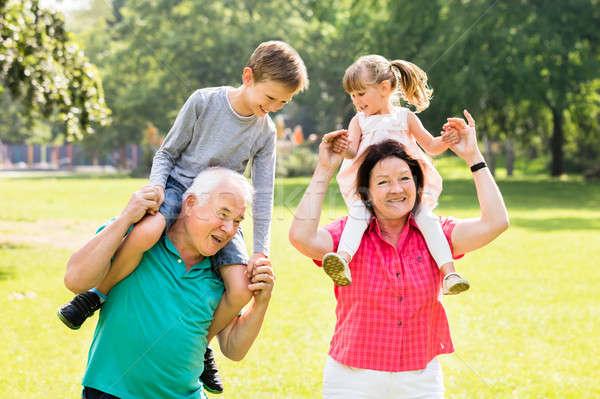 祖父母 孫 ピギーバック 幸せ 楽しい 公園 ストックフォト © AndreyPopov
