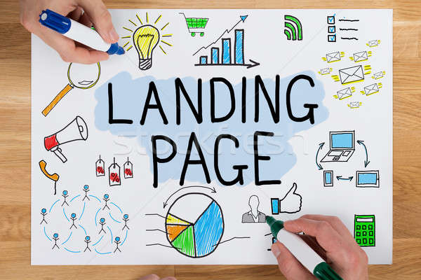 People Drawing Landing Page Concept On Paper Stock photo © AndreyPopov