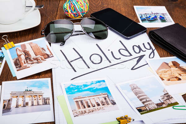 Photos Of Holiday On Wooden Desk Stock photo © AndreyPopov