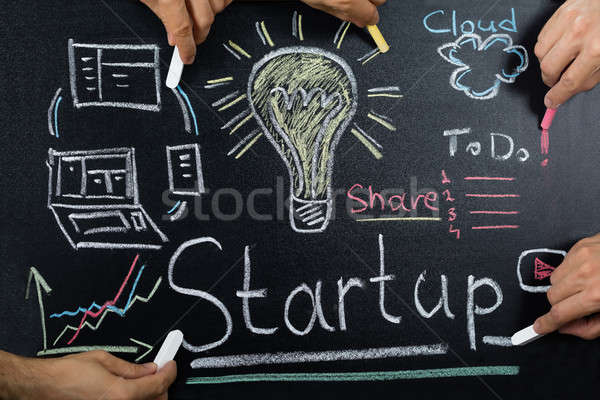 Startup Plan On Blackboard Stock photo © AndreyPopov