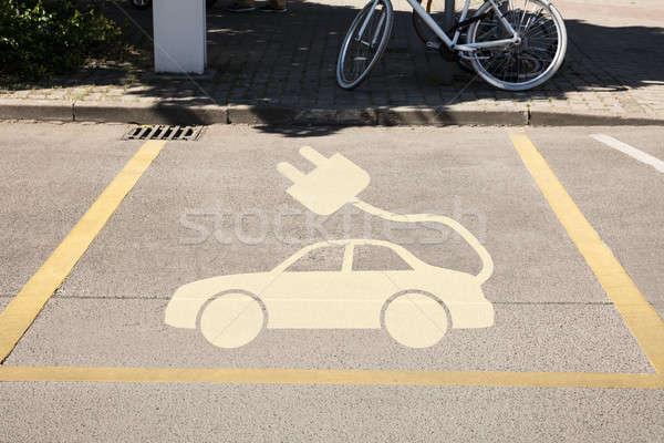 Foto stock: Coche · eléctrico · signo · aparcamiento · vista · comunicación