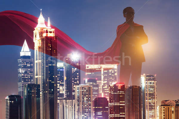 çift maruz kalma işadamı süper kahraman kırmızı şehir Stok fotoğraf © AndreyPopov