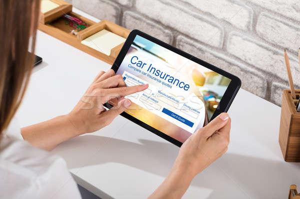 女性実業家 充填 車 保険 フォーム デジタル ストックフォト © AndreyPopov
