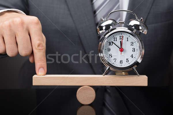 指 バランス 目覚まし時計 シーソー クローズアップ ストックフォト © AndreyPopov