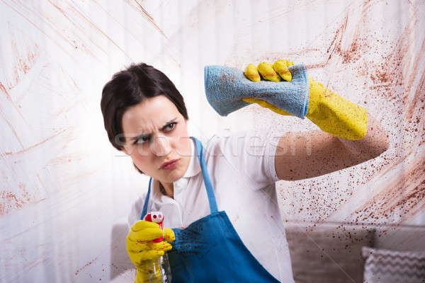Woman Cleaning Stained Glass Window Stock photo © AndreyPopov
