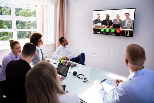 Video boardroom groep kantoor Stockfoto © AndreyPopov