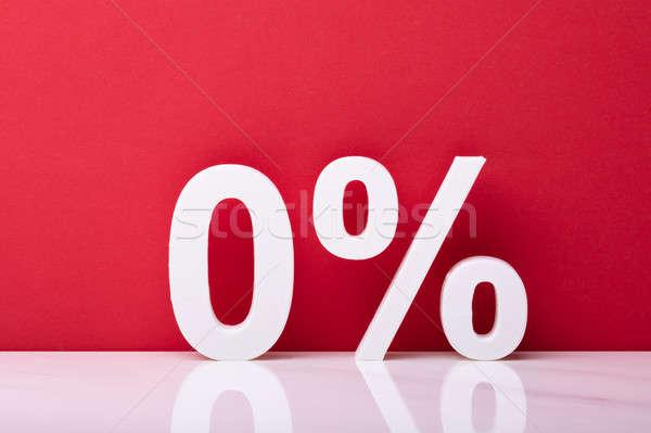 Fehér nulla százalék felirat piros fal Stock fotó © AndreyPopov