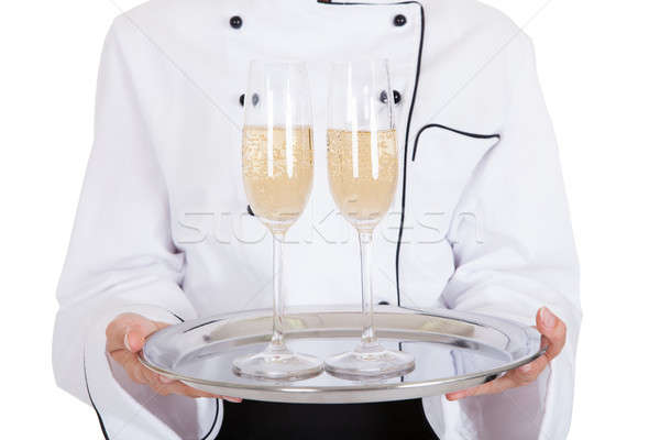 ストックフォト: 女性 · シェフ · シャンパン · 肖像 · 白