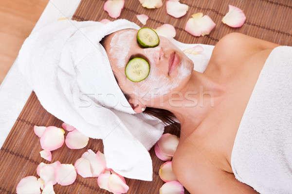 Piękna młoda kobieta maska spa studio kobieta Zdjęcia stock © AndreyPopov