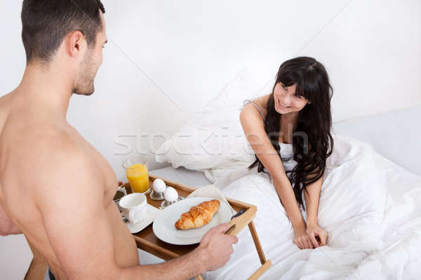 Man bringing breakfast to his wife Stock photo © AndreyPopov