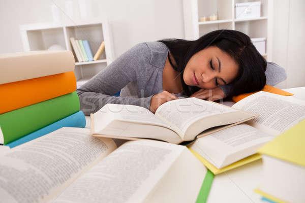 Fiatal nő alszik tanul portré otthon nő Stock fotó © AndreyPopov